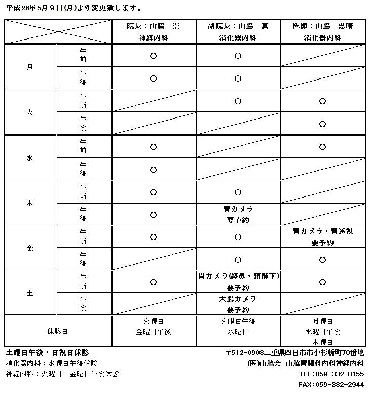 外来表 2016/5/9 〜